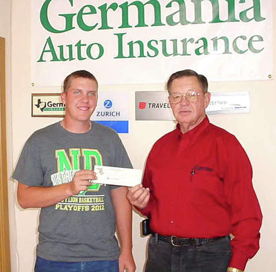 Courtesy PhotoPaul Drager of the Dodson Agency presents the 2012 Germania Chapter 81 Scholarship to Jonathan Johnson of Abernathy. A soon-to-be graduate of New Deal High School, Johnson plans to attend South Plains College this summer. His grandmothers are Germania members Charlene Johnson of Plainview and Sherry King of Lubbock, formerly of Plainview.