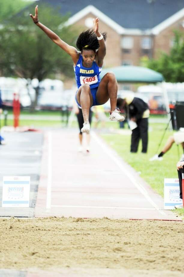 Wayland senior Bianca Grant captured her second title in the long jump on the first day of the NAIA track & field national championships in Marion, Indiana. Photo: Wayland Baptist University Photo
