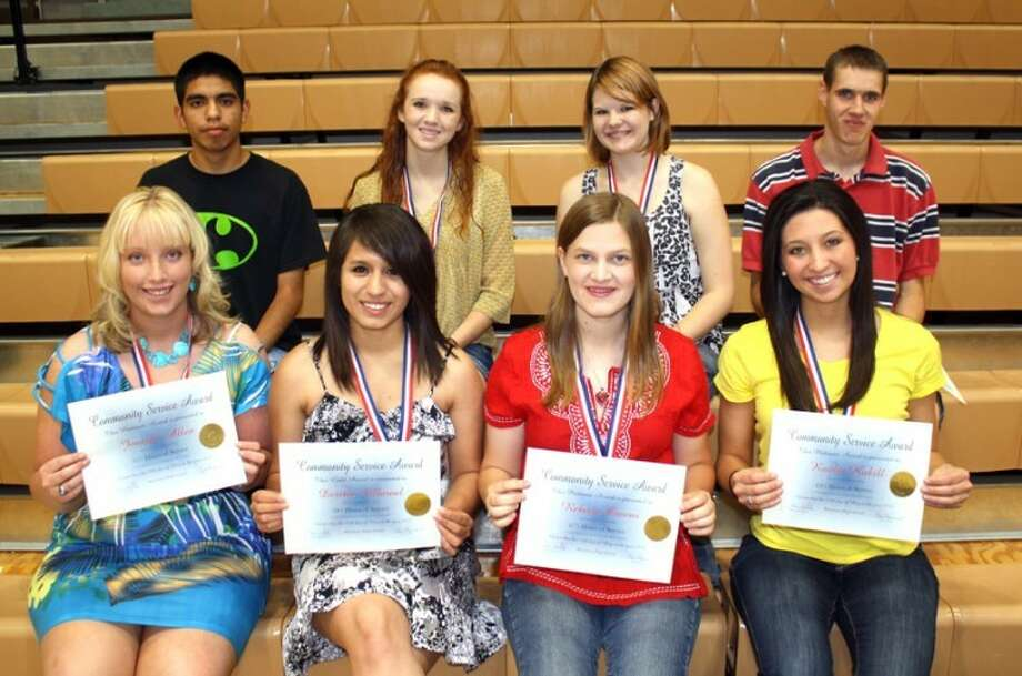 Jan Seago/Plainview ISDAmong the PHS seniors to receive Community Service Awards at commencement Friday are Jennifer Allen (front left), Desiree Villarreal, Rebecca Owens, Kaitlin Hukill, Adrian Flores (back left), Natalie Tunnell, Shayla Perry and Lenny Bellow.