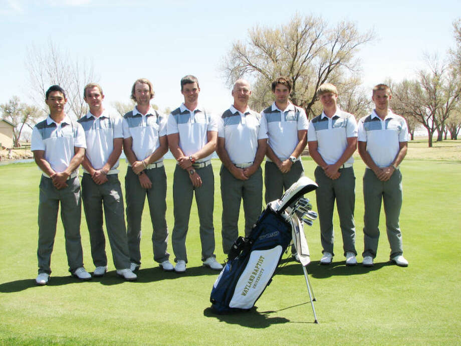 Members of the Wayland Baptist University men's golf team are (from left) Jimmy Lu, Ian Ansett, Anders Ellingsberg, Darryn Els, head coach Tom Harp, Ryan Connolly, Tristan Cottrell and Gregory Mertens. Photo: Calvin Bass/Wayland Baptist University