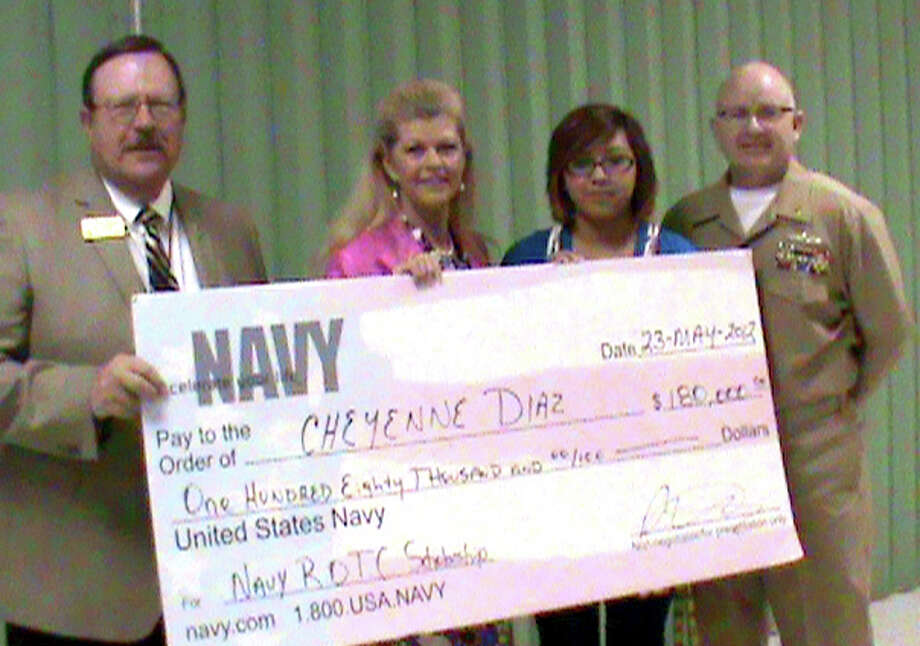 Courtesy PhotoCheyenne Diaz (second from right) was this year's recipient of the Navy ROTC university scholarship worth $180,000. Diaz has been a member of the PHS NJROTC since her freshman year and, according to her instructor, has excelled and succeeded in all of her endeavors. She plans to attend Prairie View A&M University near Houston to pursue a degree in engineering. After graduation, she will be commissioned as an ensign in the U.S. Navy for four years. Pictured with her are (from left) PISD Superintendent Dr. Ron Miller, Director of Curriculum and Instruction and former PHS Principal Lisa Kersh and Chief Brad Brantley, senior naval science instructor at PHS.