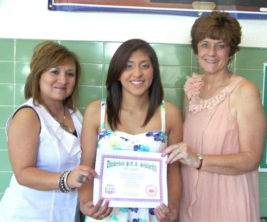 Norma Martinez/Thunderbird ElementaryPlainview High School senior Laura Castillo (center) received the Thunderbird PTA Scholarship, being presented here by PTA officer Ruth Gonzales (left) and PTA President Lana Branam.