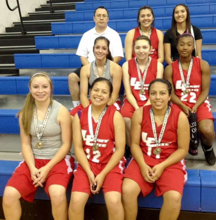 Lady Elite Varsity won the Southwest Hoops tournament in Lubbock last weekend, winning all three of their games and beating West Texas Ice in the championship. Members are (front, from left) Jaden Gonzales, Stormie De La Garza, Stacey De La Garza, (middle) Karli Wheeler, Taylor Garza, Markeyla Hicks, (top) head coach Jeff Gonzales, Jasslyn Portillo, and assistant coach Julia Vasquez. Not pictured are McKenna Chancellor and Lexy Perkins All are from Plainview except Portillo and Chancellor, who are from Frenship, and Hicks and Perkins, who are from Tulia.
