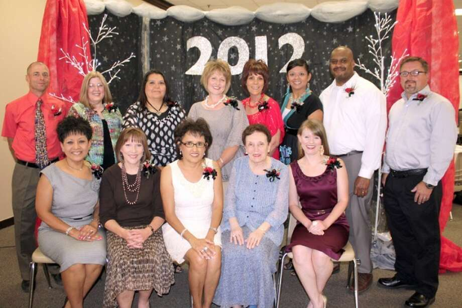 Jan Seago/Plainview ISDEducator of the Year award recipients include Angie Valdez, Edgemere (seated, left); Darla Newland, Estacado; Yolanda Vera, College Hill; Patti Robinson, Hillcrest; Amanda Isaacs, Lakeside; Ray Major, Highland, (standing, left); Karen Latimer, Houston School; Maria Porras, College Hill; Brandy Tirey, La Mesa; Nancy Wood, Coronado; Sarah Wallace, Thunderbird; Rodney Wallace, PHS; and Brandon Buchanan, Ash. Not shown are Sandra Marshall, College Hill, and Lyn Baker, Edgemere.