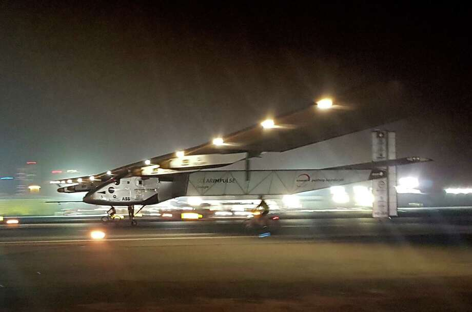 The Solar Impulse 2 plane lands in Abu Dhabi after its global trip. The project was estimated to cost more than $100 million. Photo: Aya Batrawy, STF / AP