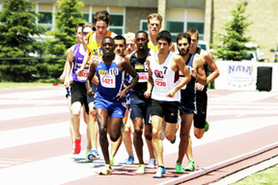 WBU's Kennedy Kithuka lapped the entire field on his way to a second 10,000-meter title, finishing 64 seconds before the second place finisher. Above, Kithuka leads the pack in the 1,500 meter preliminaries. Photo: Wayland Baptist University Photo