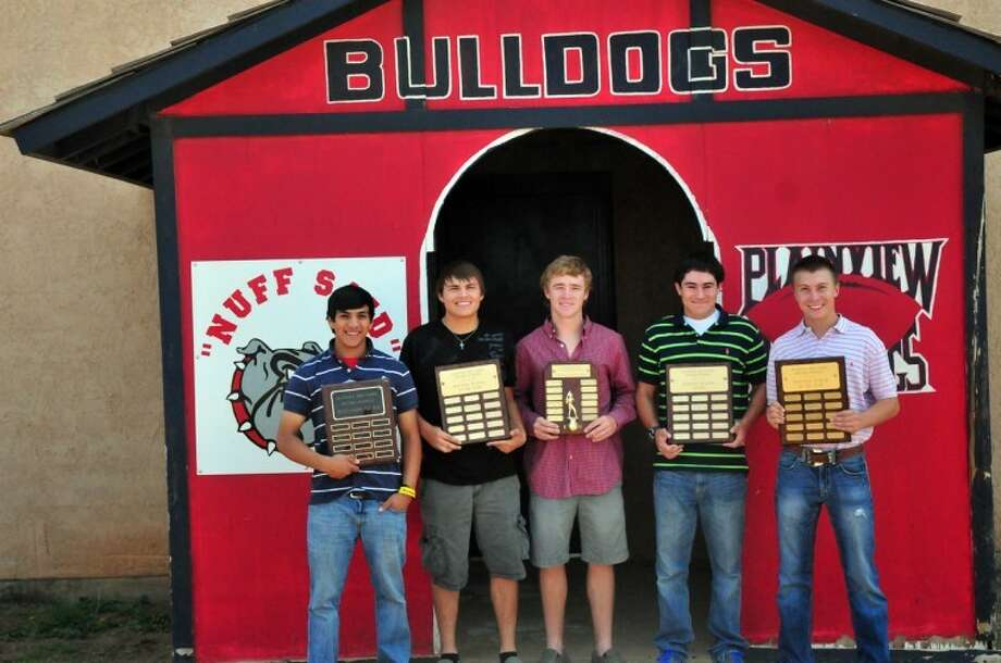 Plainview Bulldog baseball players Jordan Vera (left), Trey Hernandez, Chance Rollins, Hayden Gonzalez and Skyler Wood were recognized by their coaches and teammates Friday for their contributions to the squad. Not pictured is Josh Vera. Photo: Summer Morgan/Plainview Herald