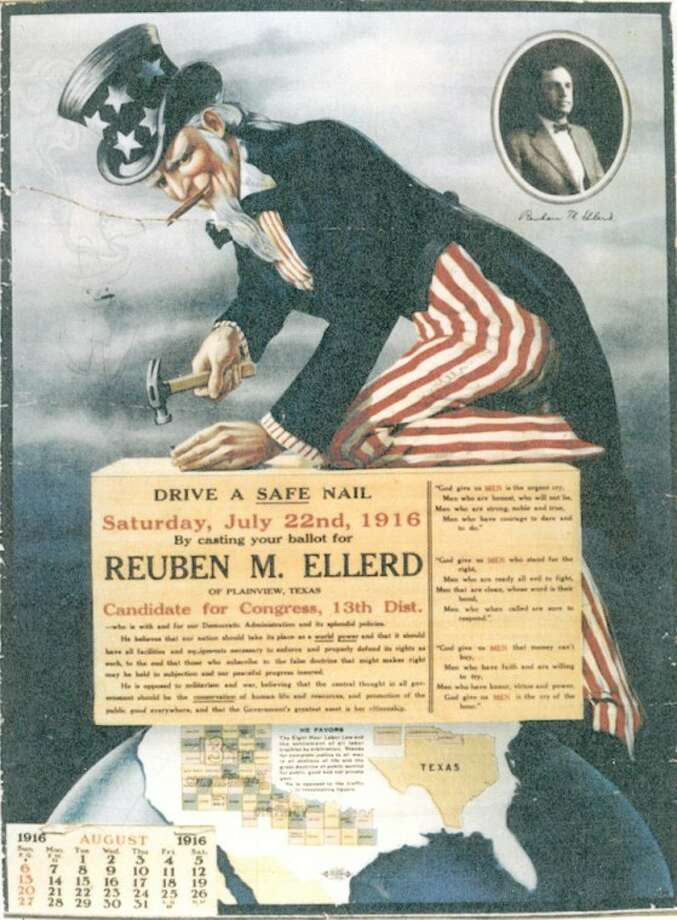 This 1916 calendar served as a campaign poster for Plainviewan Reuben M. Ellerd in his unsuccessful campaign for U.S. Congress. Photo: Jennie Pennell Collection