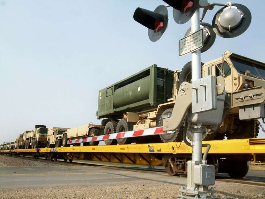 Kevin Lewis/Plainview HeraldA train carrying dozens of military vehicles made its way through Plainview last week, seemingly as an early Memorial Day tribute.