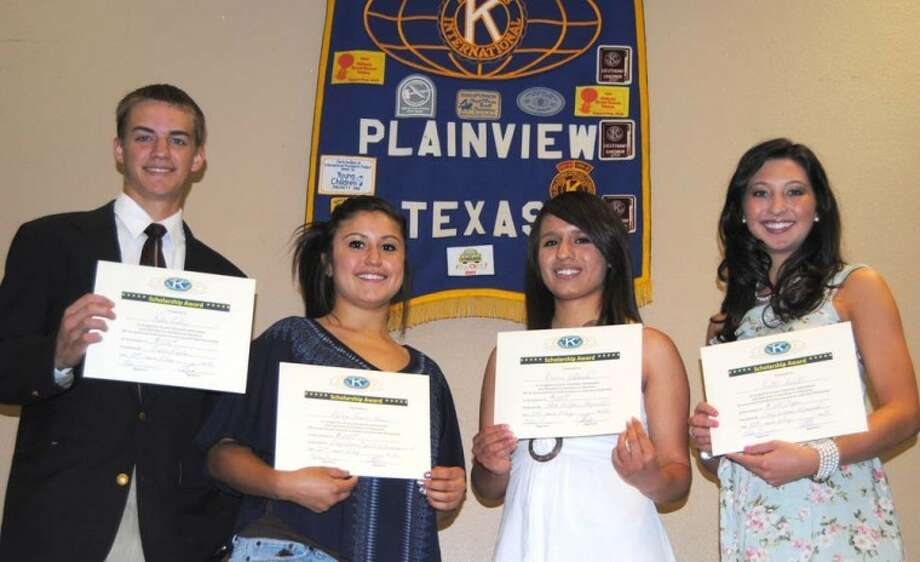 Doug McDonough/Plainview HeraldThis year's Kiwanis Club scholarship recipients were recognized Thursday during the service club's regular meeting. They include Kalen Riley, Reese Masten Memorial Eagle Scout Scholarship; Melissa Rau, Clay Warren Memorial Spirit of Encouragement Scholarship; Desiree Villareal, Bob Hilburn Memorial Scholarship; Kaitlin Hukill, Clay Warren Memorial Scholarship; and Christopher Salazar (not shown), James Frazier Memorial Scholarship.