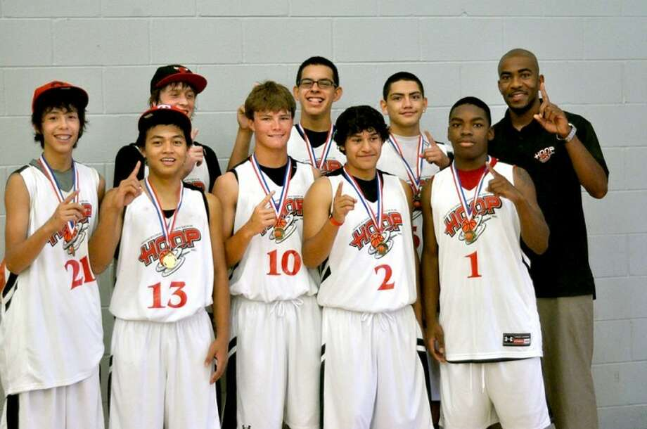 The Plainview Hoop 55 basketball team took first place at an AAU tournament in Lubbock last weekend, defeating Hereford in the championship 76-52. Pictured are (back, from left): Braden Landtroop, Des Vera, Ryan Larralde and coach Chuck Love; (front) David Landtroop, Arjay Castro, Thomas Wirth, Danny Gallardo and Quavian Thomas.