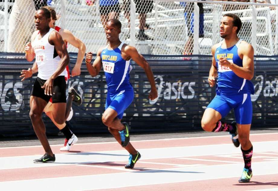 Senior Jerry-Lee Davis (center) and junior Durawn Howard both finished the 400 meters in 46.51 seconds. Howard got the nod for fourth place, giving Davis fifth. Wayland's men's squad finished third overall in the team standings, while the women were fifth. Photo: Wayland Baptist University Photo