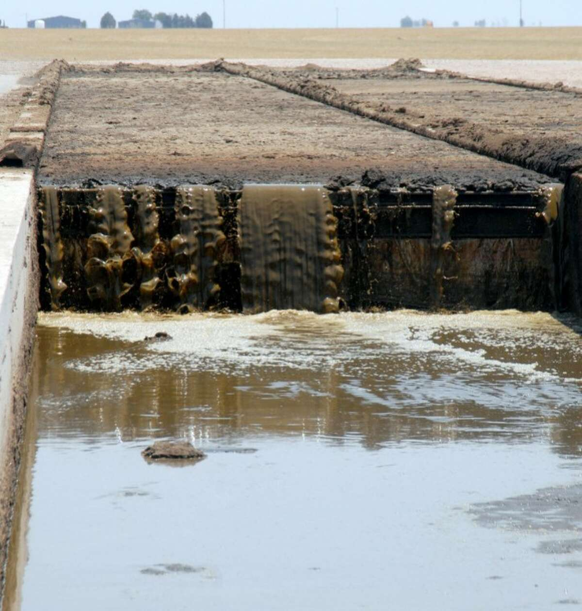 Water flows into a settling basin as part of the recycling process at Vista Grande Dairy south of Plainview.