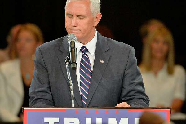 ROANOKE, VA - JULY 25:  Republican vice presidential candidate Mike Pence addresses the audience at a campaign stop at the The Hotel Roanoke & Conference Center on July 25, 2016 in Roanoke, Virginia.  Donald Trump is campaigning with a bump in the polls following the Republican National Convention where he accepted the party's nomination.  (Photo by Sara D. Davis/Getty Images)