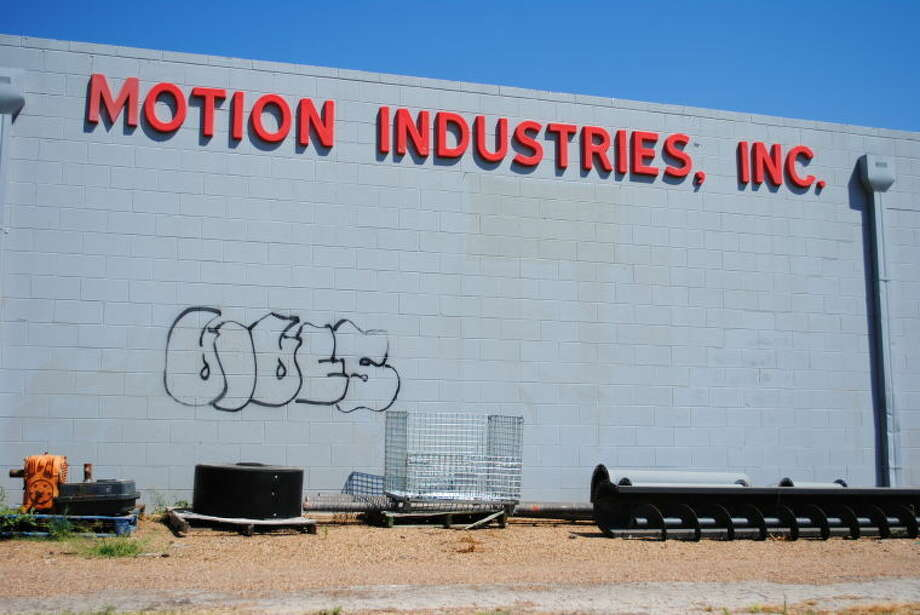 A wall at Motion Industries shows the graffiti markings made at businesses, parks and a school in Plainview over the weekend. Photo: Ryan Crowe/Plainview Herald
