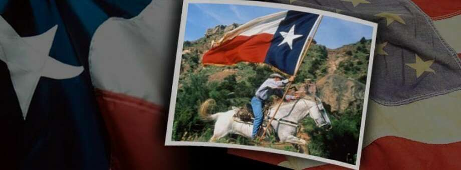 """Courtesy PhotoA photo of a cowboy racing across the rim of Palo Duro Canyon holding a Texas flag and resting on a faded United States flag reflects the patriotic emphasis of this summer's production of """"TEXAS"""" musical drama."""