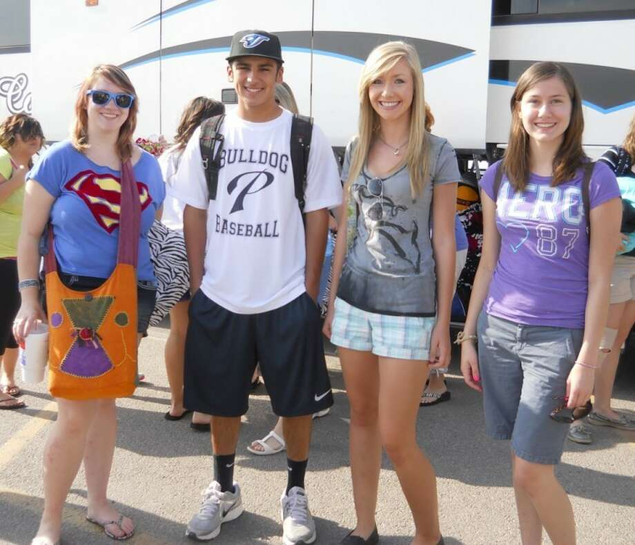 """Courtesy PhotoCourtney Derrick (left), John """"JJ"""" Perez, Kendra Stukey and Alexandria Fletcher left Monday morning to attend Rotary Youth Leadership Awards Camp. Sponsored by the Plainview Rotary Club, they are among a group of 104 students who will attend the week-long camp at Lone Tree Ranch near Capitan, N.M. The purpose of Camp RYLA is to help students gain an understanding of the fundamentals of leadership, ethics of positive leadership, communication skills of effective leadership, building self-confidence and self-esteem, good sportsmanship and elements of community and global citizenship."""