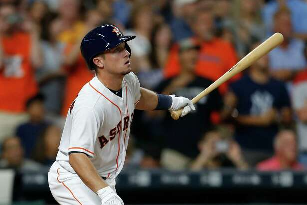 With the bases loaded, Alex Bregman sends a ball to the right-field warning track for a long out to end the sixth inning. He finished 0-for-4 with two strikeouts.