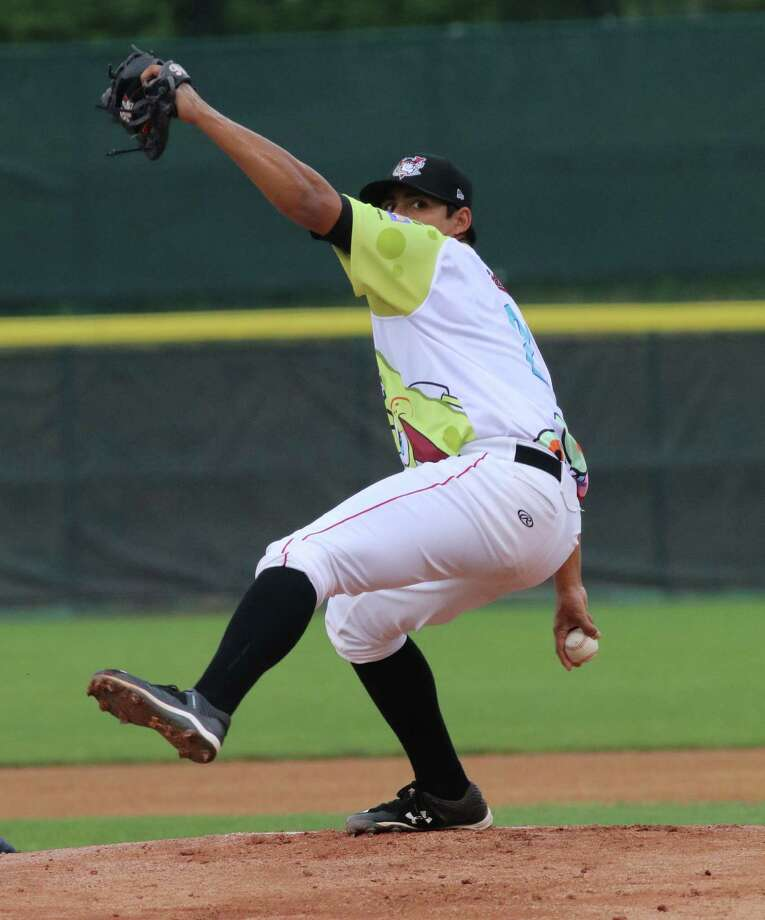 ValleyCats pitcher Enrique Chavez throws against the Vermont Lake Monsters during Monday evening's matchup July 25, 2016 at Joe Bruno Stadium in Troy, N.Y. (Ed Burke/Special to The Times Union)