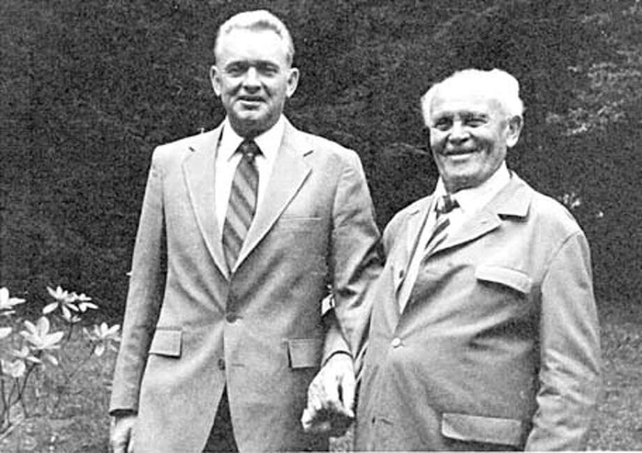Command Sgt. Maj. James T. Hilyer (left) stands with Hans Baur who served as the personal pilot for Adolf Hitler during World War II. Hilyer interviewed Baur in 1984. Those recording have been donated to Wayland by Hilyer's family.