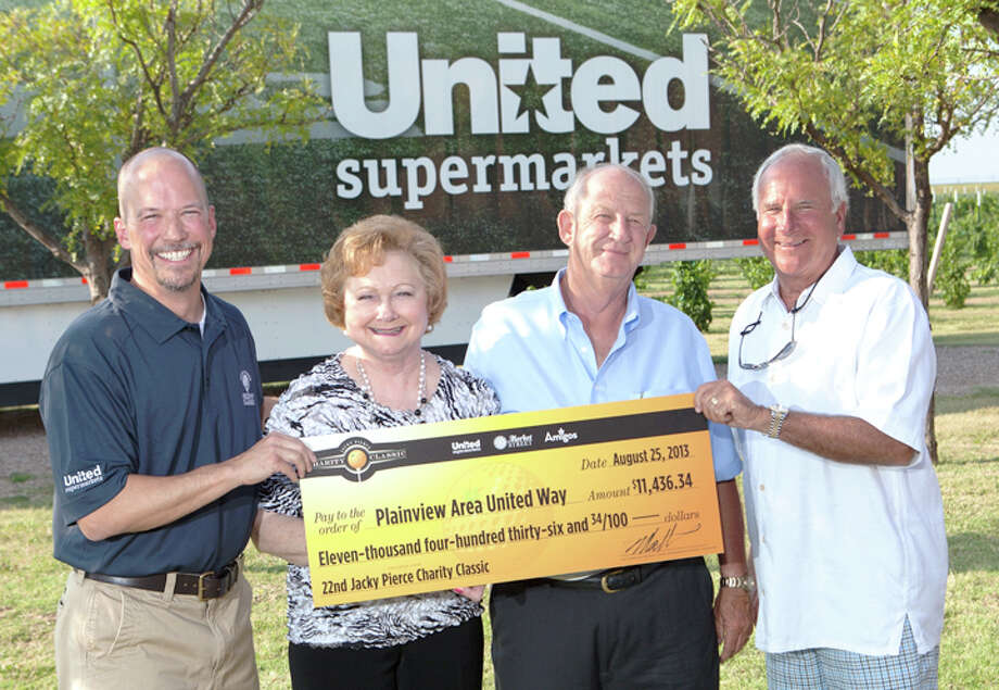 Plainview Area United Way representatives Alice Sawayer and David Wilder (center) hold a $11,436.34 check representing their organization's share of the proceeds from the 22nd Annual Jacky Pierce Charity Classic golf tournament last week in Lubbock. The tournament, hosted by The United Family (formerly United Supermarkets, LLC), raised $250,000 for the 14 United Way organizations which serve the The United Family trade areas. Presenting the check are Matt Bumstead (left), co-president, and Robert Taylor, CEO, of The United Family.