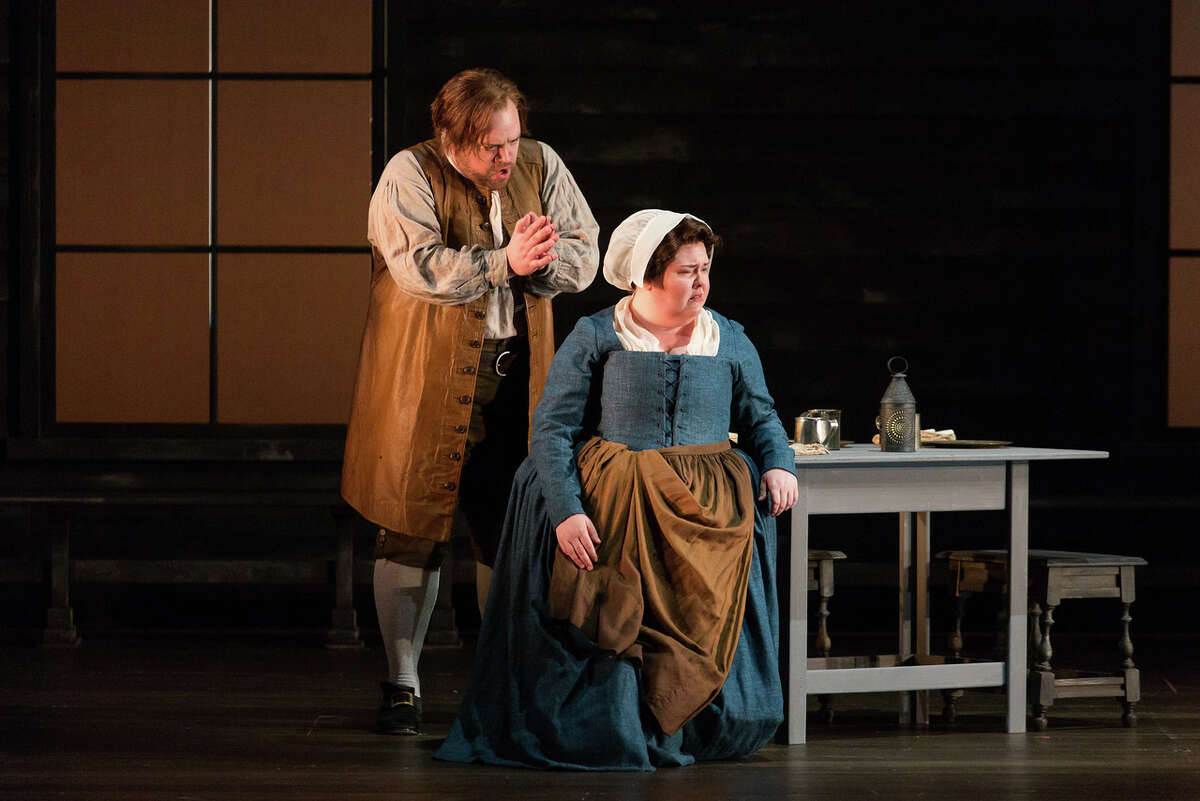 """Brian Mulligan as John Proctor and Jamie Barton as Elizabeth Proctor n The Glimmerglass Festival's production of Robert Ward's """"The Crucible."""" Photo: Karli Cadel/The Glimmerglass Festival"""