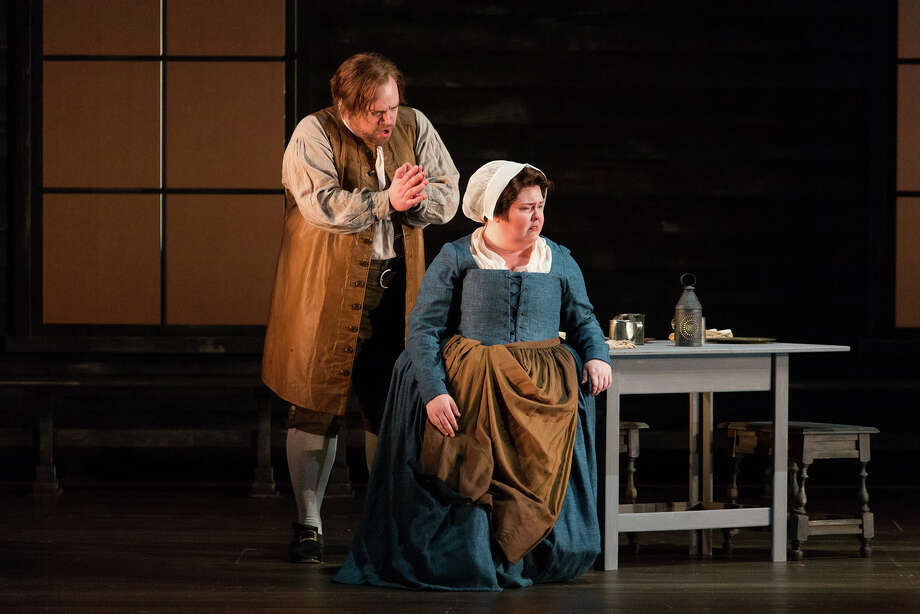 """Brian Mulligan as John Proctor and Jamie Barton as Elizabeth Proctor n The Glimmerglass Festival's production of Robert Ward's """"The Crucible."""" Photo: Karli Cadel/The Glimmerglass Festival Photo: Karli Cadel / © 2016 Karli Cadel Photography"""