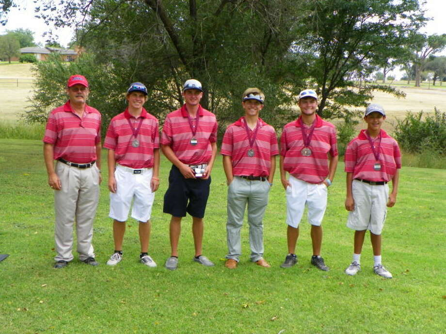 The Plainview boys golf team finished second at the Hereford Invitational Friday and Saturday. Pictured (from left) are Coach Mike Lewis, Harrison Alford, Matt Jolly, Brock Walker, Thomas Wirth and Isaiah Garcia. Jolly finished third individually and Wirth fifth. Photo: Photo Courtesy Of Betsy Lewis