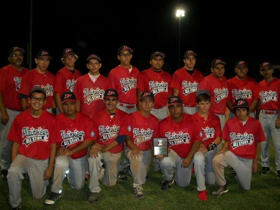 The Plainview 15-year-old Optimist All-Stars pose for a team photo after losing to Dumas 10-3 in the championship of the West Texas state tournament in Levelland on Tuesday. Dumas clinched the championship 10-2 in a decisive Game 3 after Plainview forced a third game by winning Game 2 14-3. Pictured are Nathan Luna (front left), Chris Galvan, J.J. Perez, Aaron Chavez, Anthony Rangel, Landon Cochran, Joey Gonzales, manager John Perez (back left), Hector Castillo, Karson Hembree, Ryan Larralde, Dez Vera, Arron Gonzales, Matt McGowen, Santana Vera, Coach Hector Castillo and coach Wally Chavez. Photo: Courtesy Photo