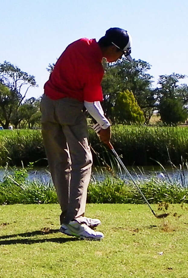 Ryan Castillo hits a shot for Plainview during the Canon Triangular at Palo Duro Creek Golf Course Saturday. The freshman shot a 79, which was second best for the Bulldogs. Photo: Photo Courtesy Of Betsy Lewis