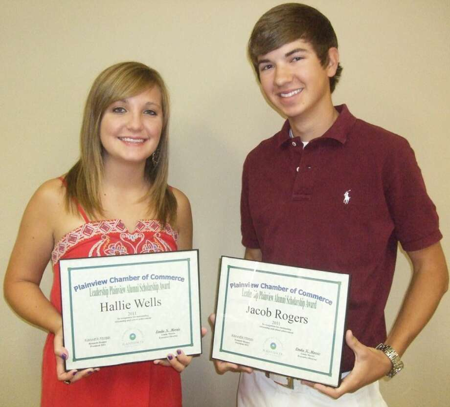 Hallie Wells and Jacob Rogers, both spring graduates of Plainview High School, were presented Leadership Plainview scholarships at this morning's Plainview Chamber of Commerce Board meeting. Wells, the class valedictorian, will attend Abilene Christian University with hopes of becoming an orthodontist. Rogers, who was ranked No. 4 in his class, plans to attend Texas A&M and someday become an ER doctor. The scholarships are for $1,000 each. Photo: Kevin Lewis/Plainview Herald