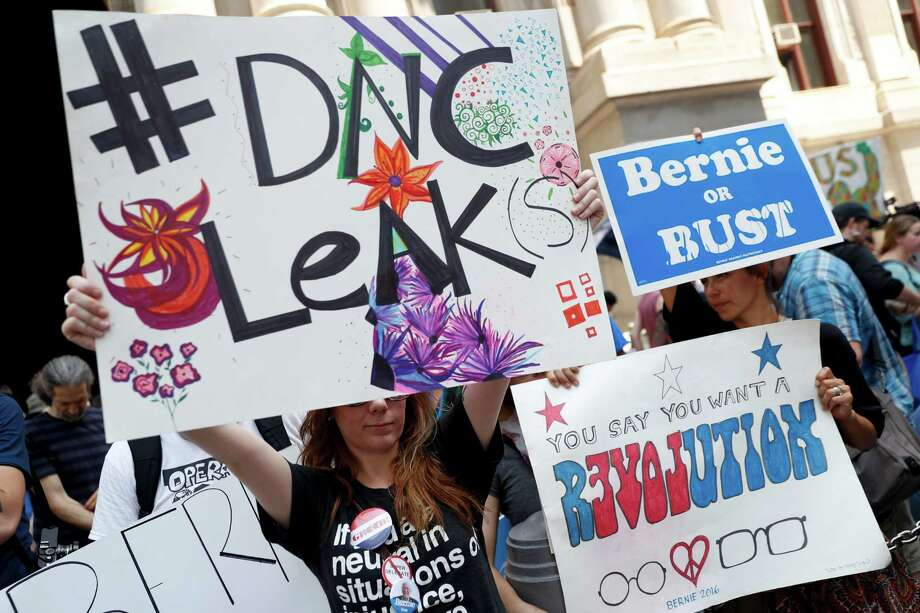 Demonstrators make their way around downtown Philadelphia on the first day of the Democratic National Convention. Photo: John Minchillo /Associated Press / Copyright 2016 The Associated Press. All rights reserved. This material may not be published, broadcast, rewritten or redistribu