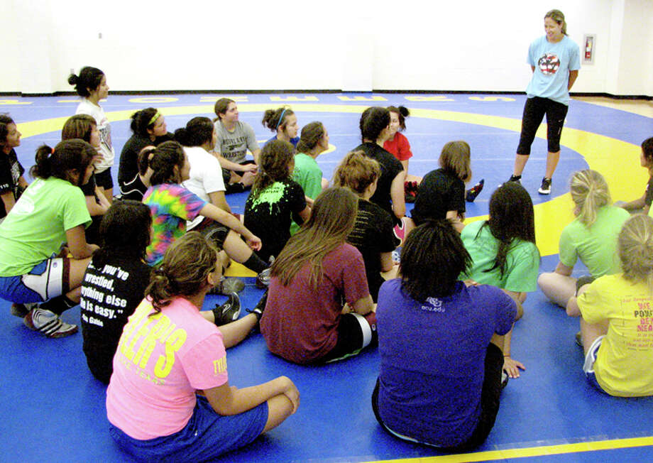 Former Olympian Marcie Van Dusen put on a three-day wrestling camp for high school girls last week at Wayland Baptist University. Close to 30 girls from a three-state region attended. Photo: Kevin Lewis/Wayland Baptist University