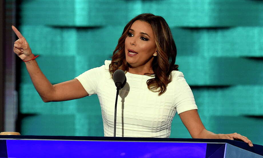 Actress Eva Longoria introduces New Jersey Sen. Cory Booker during the 2016 Democratic National Convention on Monday, July 25, 2016 at the Wells Fargo Center in Philadelphia, Pa. Photo: Clem Murray, TNS / Philadelphia Inquirer