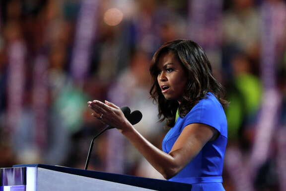 First Lady Michelle Obama speaks during the first day of the Democratic National Convention in Philadelphia, Monday, July 25, 2016. (AP Photo/Paul Sancya)