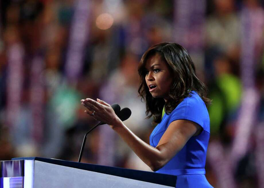 First Lady Michelle Obama speaks during the first day of the Democratic National Convention in Philadelphia, Monday, July 25, 2016. Photo: Paul Sancya, AP / Copyright 2016 The Associated Press. All rights reserved. This material may not be published, broadcast, rewritten or redistribu