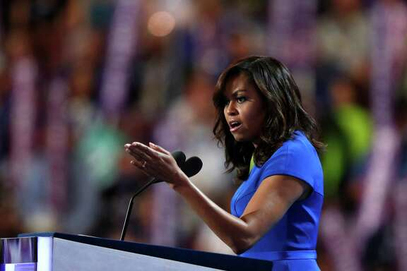First Lady Michelle Obama speaks during the first day of the Democratic National Convention in Philadelphia, Monday, July 25, 2016.