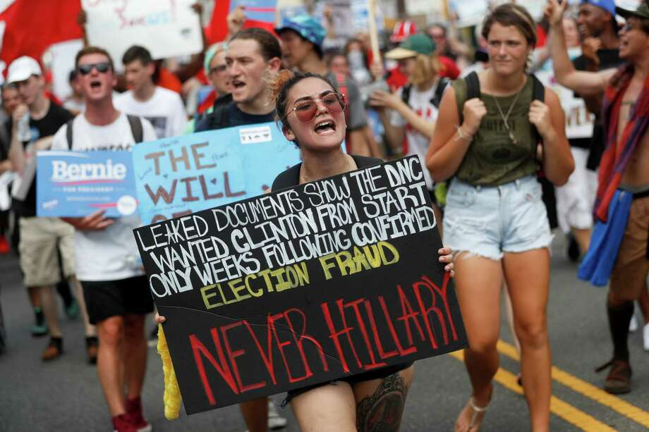 Supporters of Bernie Sanders march Monday during a protest in downtown Philadelphia on the first day of the Democratic National Convention. Photo: John Minchillo, STF / AP