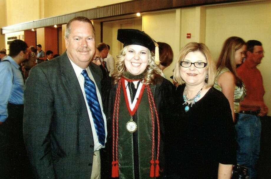 Shanna James with her parents, Ross and Tonya James of Tulia