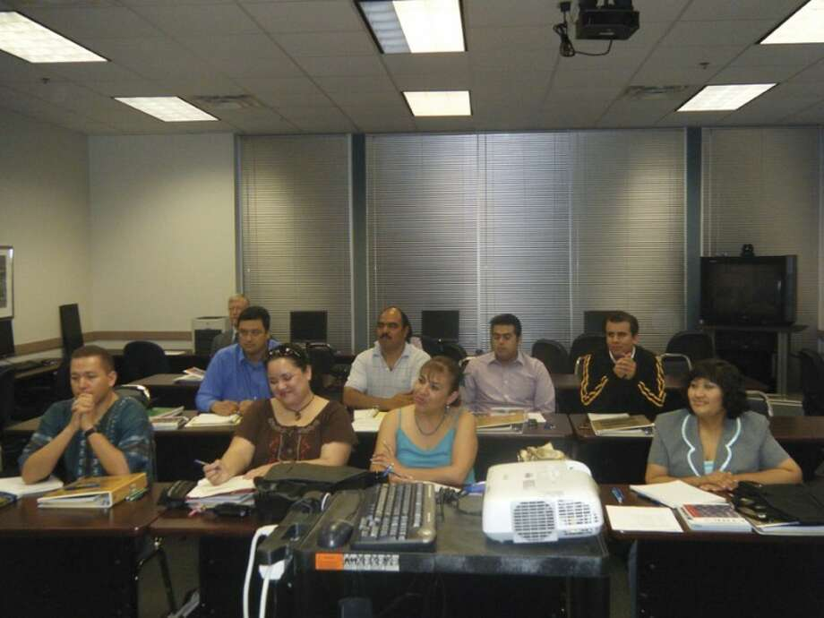 Participants in a special new master of arts in management program, partnering with Alamo Colleges in San Antonio for the benefit of university faculty members in Mexico, sit through an orientation session and ethics class as the first part of their degree with Wayland. Photo: Courtesy Photo