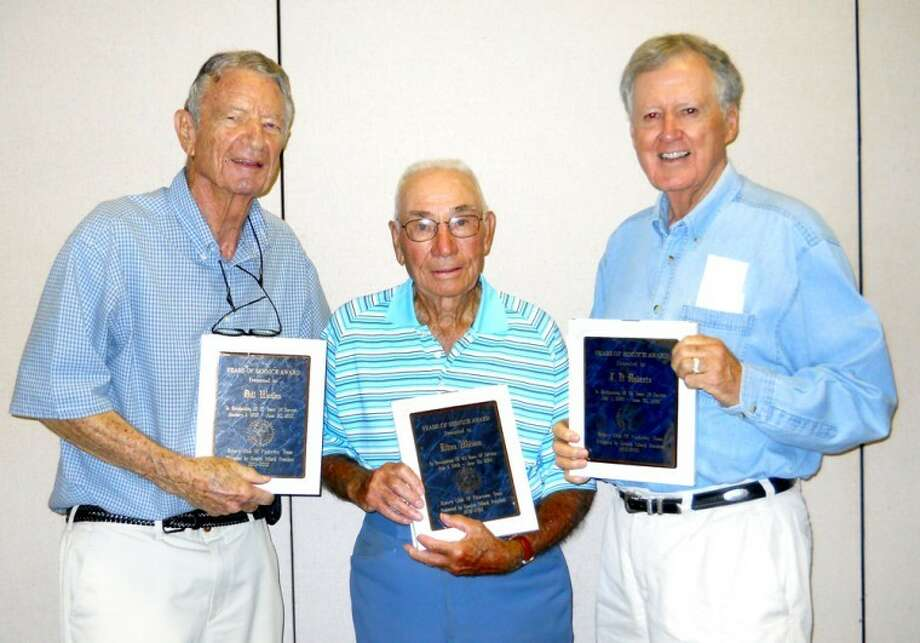 Courtesy PhotoFive members of the Plainview Rotary Club recently were honored with long time service awards: Bill Weaks (left) with 57 years of service, Elton Wilson with 43 years and JB Roberts with 54 years. Not pictured, Norman Huggins, 40 years, and David Willson, 56 years.