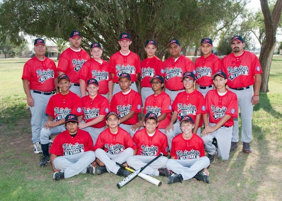 Optimist Babe Ruth league 13-year-old all-stars: Top row from left; manager Jeff Townsend, coach David Haresnape, Trevor Townsend, Wrangler Haresnape, Aadean Rodriguez, Adriel Flores, Nathaniel Armijo and coach Gabriel Rodriguez. Middle row; Caleb Sigala, Andrew Bennett, Jordan Reyes, Zack Orozco, Christian Gomez and Jacob Ochoa. Front row; Ryan Vera, Israel Cuellar, Jonathan Rodriguez and Jace Browning. Photo: Don Dickson Photography
