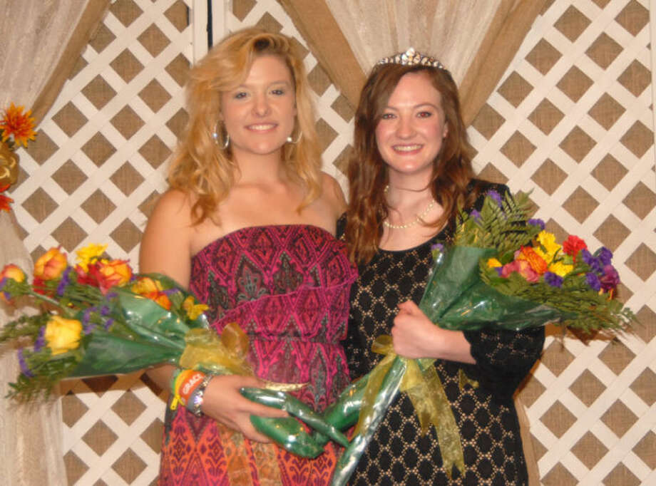 Doug McDonough/Plainview HeraldMeredith McDonough (right) was selected the 54th queen of the Plainview Lions Club on Monday night. A junior at Plainview High School, she is the 16-year-old daughter of Doug and Brenda McDonough. Michelle Waller (left), daughter of Paul and Tammy Waller, was selected Lions Club princess. She also is a junior at PHS. They succeed Queen Hannah Smith and Princess Kendra Stukey. The annual contest, which drew 17 entries, was held in the auditorium of the Museum of the Llano Estacado on the Wayland Baptist University campus. The new queen will compete in the District Lions Queen Contest next spring in Plainview.