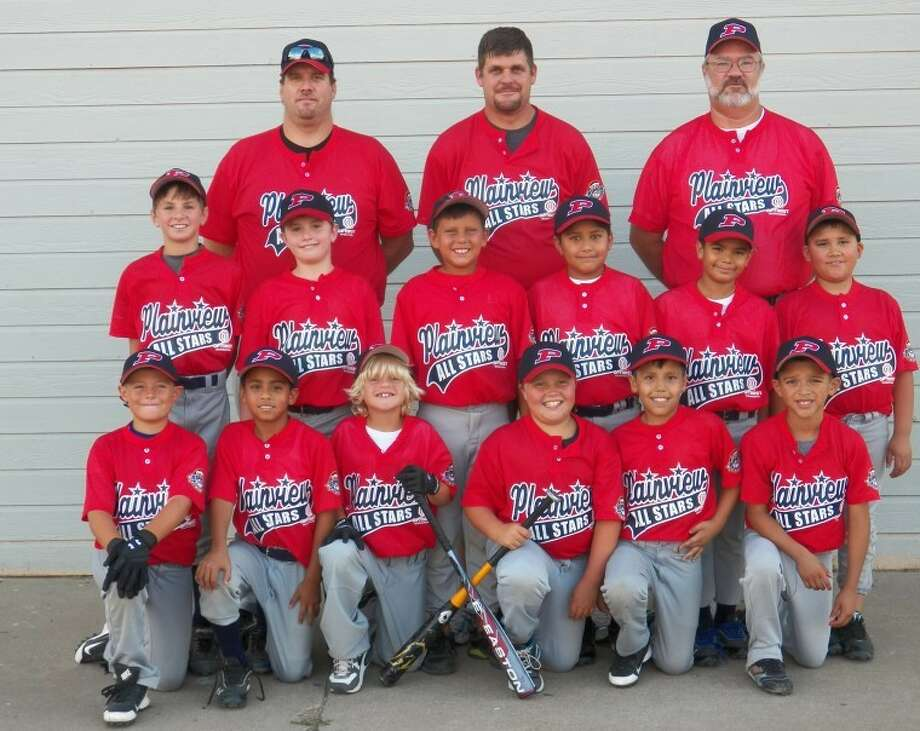 Courtesy PhotoPlainview Optimist Cal Ripken 9-year-old all-stars: (top row) coaches from left, Jeremy Sims, Dustin Blankenship and Claude Lusk. (middle row) Caleb Lusk, Mitchell Sims, Kylar Blankenship, Marcus Perez, Pascual Holguin. (bottom row) Jordyn Vasquez, Tanner Timms , Trey Munoz, Kooper Blankenship, Landry Thornton, Jonathan Garza and Dominick Vargas.