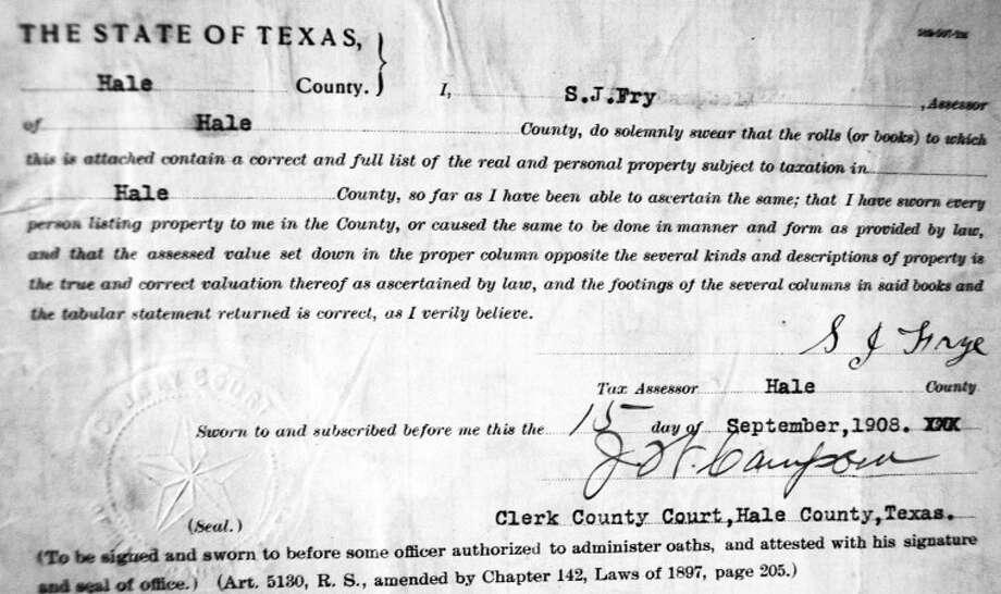 1908 tax roll certification