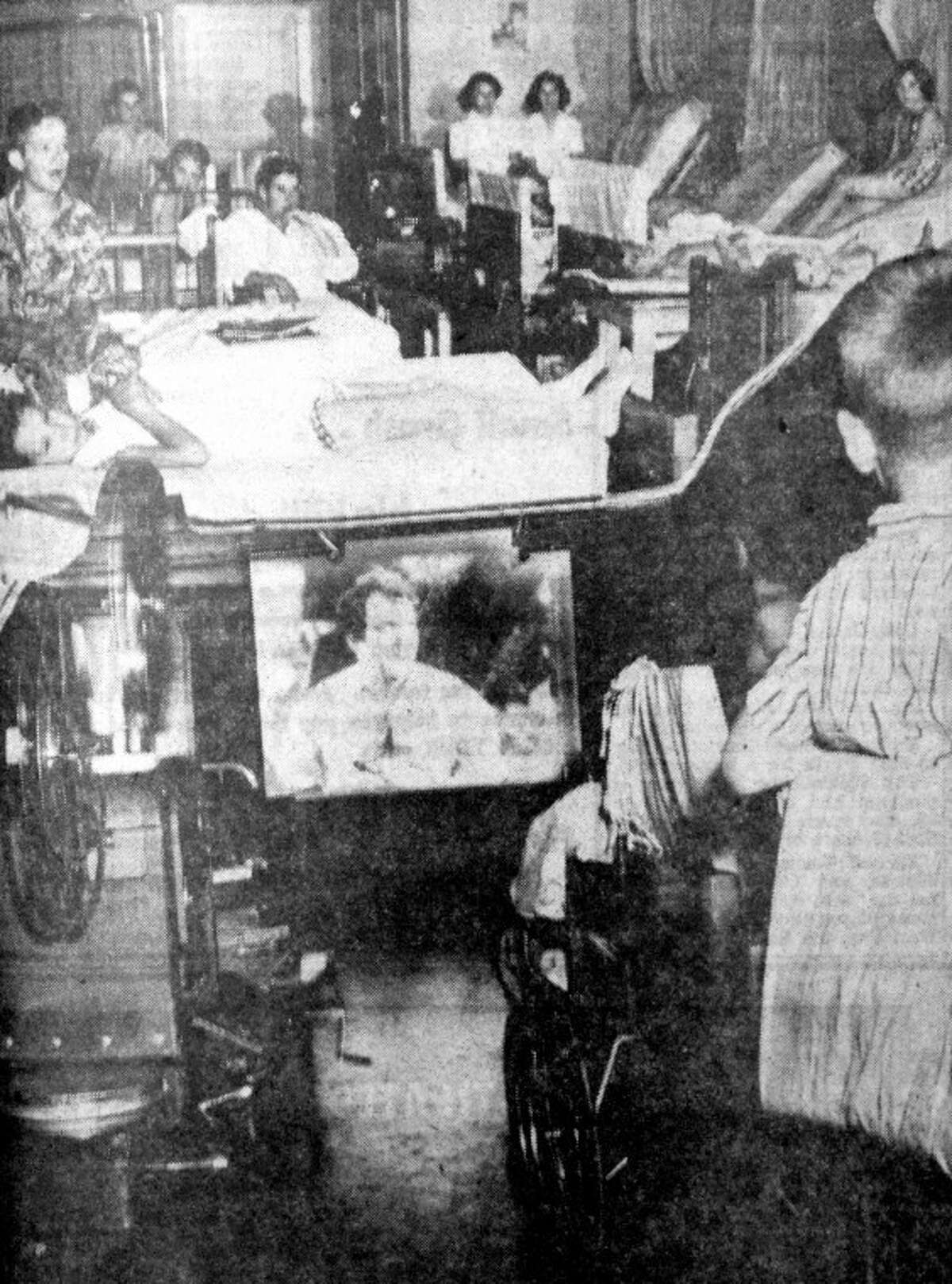 """In 1952, patients in the West Texas Polio Center in Plainview were able to watch two movies a week, thanks to the efforts of """"Bowser's Little Culture Club."""" Originated by polio victim Perry Bowser and Herald Sports Editor Bob Hilburn, the Culture Club also raised funds for an iron lung."""