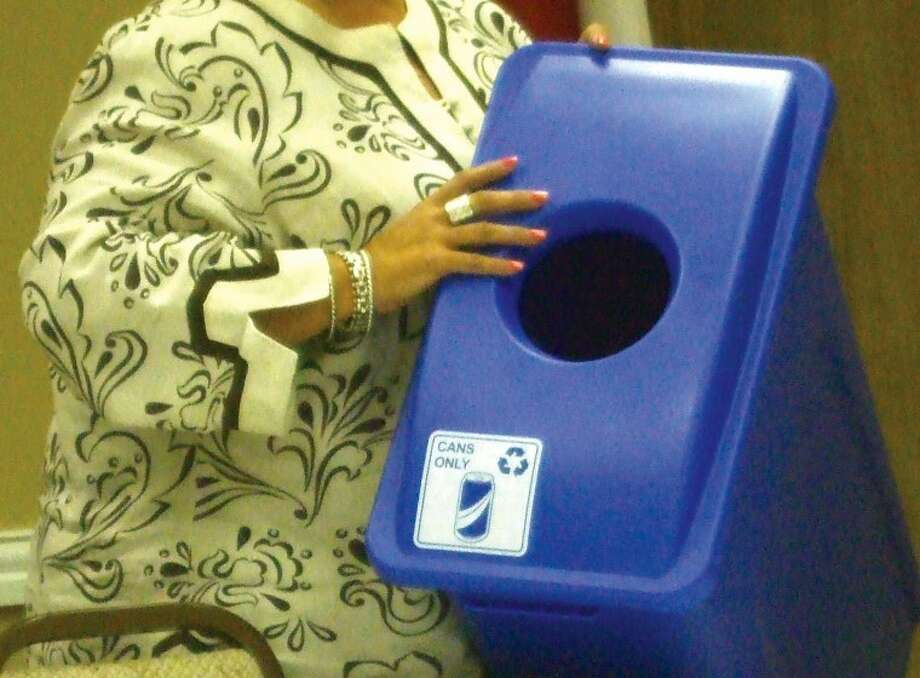 The Plainview Chamber of Commerce does what it can to recycle by having this blue recycle box designated for aluminum cans. Photo: Jessica Thornton/Plainview Herald