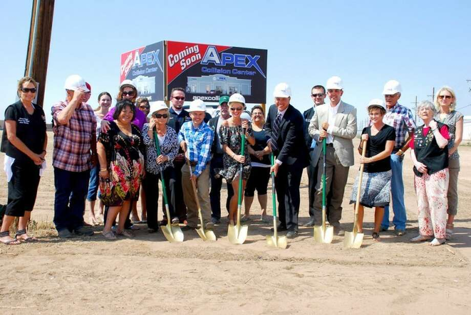 Apex Collision Center recently broke ground for an additional location in Clovis, N.M. Among those on hand for the event were general contractor Larry Kolek (left, with hard hat), Clovis Mayor Gayla Brumfield, Apex Plainview manager B.J. Terry, Apex owners Tania and Darin Halbleib, Apex Clovis manager Ramey Kimbrough, Apex office manager Jenette Dunning, building supervisor Ken Halbleib and Candice Kimbrough.