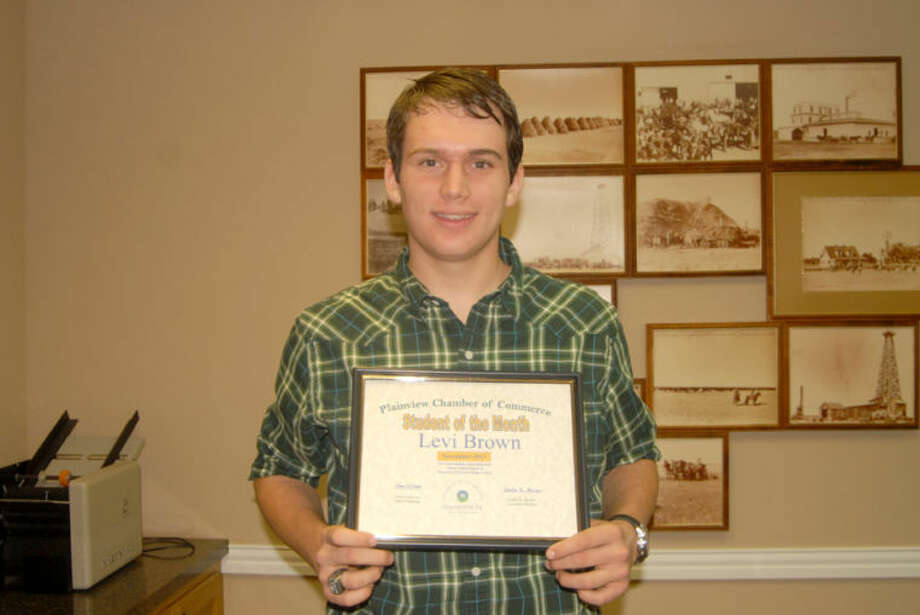 "Levi Brown, an 18-year-old senior at Plainview Christian High School, is the Chamber of Commerce's November Student of the Month. The son of Greg and Jill Brown, he is active at school in basketball, student council, National Honor Society and the Student Praise Team. His hobbies include martial arts and writing. He also participating in Meals on Wheels and serves on his church's children's ministry and praise team. Upon graduation, Brown plans to attend Wayland Baptist University for approximately two years before transferring to Texas Tech to pursue a degree in engineering.Doug McDonough/Plainview HeraldCantwell Irrigation, Inc., represented by owner Randy Ware, is the Chamber of Commerce's November Business of the Month. Located at 105 E. 24th, the business was founded in 1979 by Worthy ""Shorty"" Cantwell, with Ware joining the firm in 1981. Ware became owner following Cantwell's retirement in 2001. The company specializes in installing irrigation pipelines, replacing old concrete pipe and installing drip irrigation systems. Serving customers in Hale and surrounding counties, Cantwell Irrigation manufactures its own fittings and offers ditching and dozer services. It has five full-time employees and two part-time employees who help as needed with pipeline irrigation. Photo: Doug McDonough/Plainview Herald"