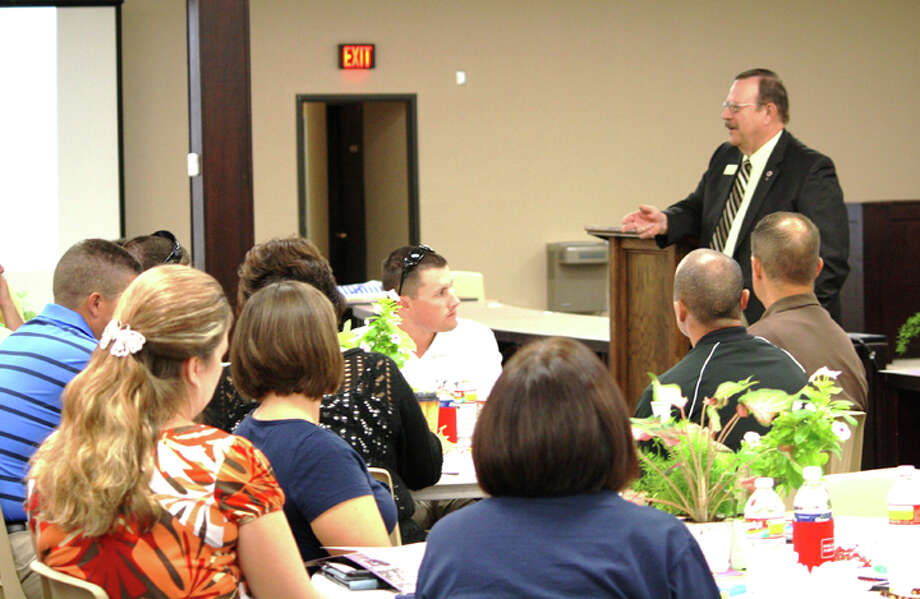 School Superintendent Dr. Ron Miller (right) addresses the new certified staff during New Staff Orientation on Friday. Photo: Jan Seago/Plainview ISD